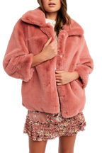 PIA FAUX FUR BOMBER in colour SILVER PEONY