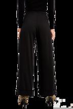 HIGH WAIST CUFF PANT in colour CAVIAR