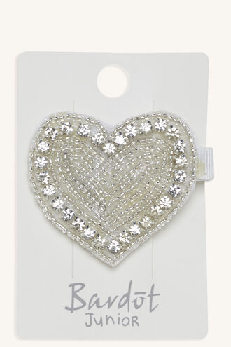 JEWELLED HEART CLIP in colour SILVER