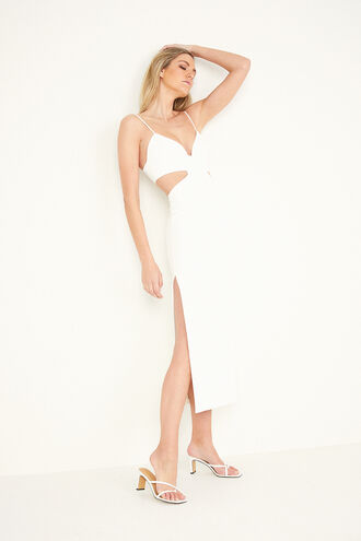 CUT OUT SLIT MIDI in colour CLOUD DANCER