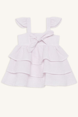 STRIPE RA RA DRESS in colour PETAL PINK