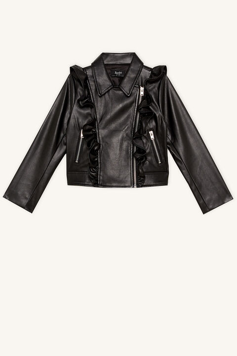 CHLOE PU RUFFLE JACKET in colour CAVIAR