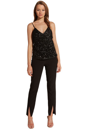 BLACK SEQUIN CAMI in colour CAVIAR