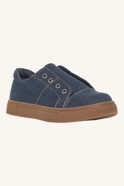 DENIM SLIP ON SNEAKER in colour DELPHINIUM BLUE