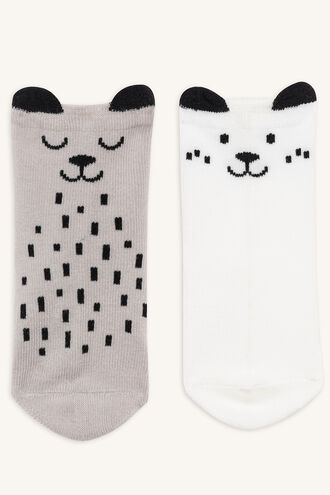 BABY BEAR SOCK 2PK in colour WHITE ALYSSUM