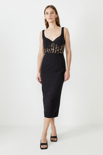 CORSET LACE PANEL DRESS in colour CAVIAR