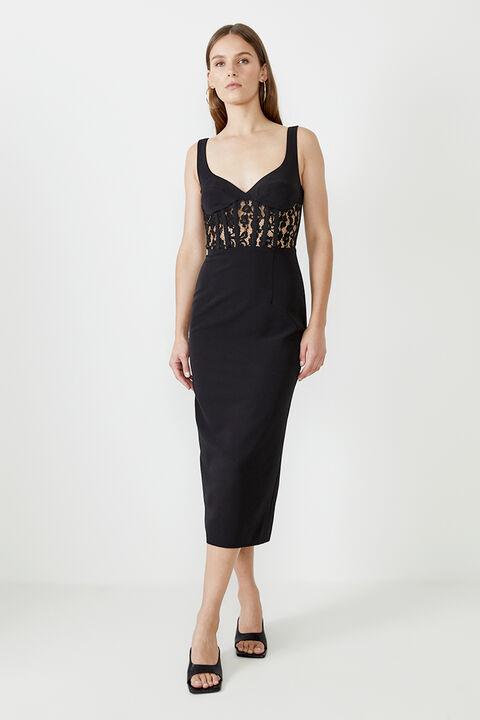 CORSET LACE PANEL DRESS in colour CAVIAR