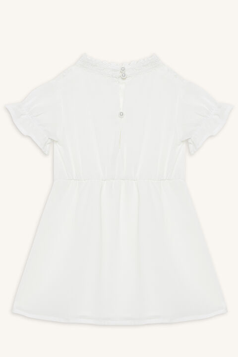 MAY SHIRRED DRESS in colour CLOUD DANCER