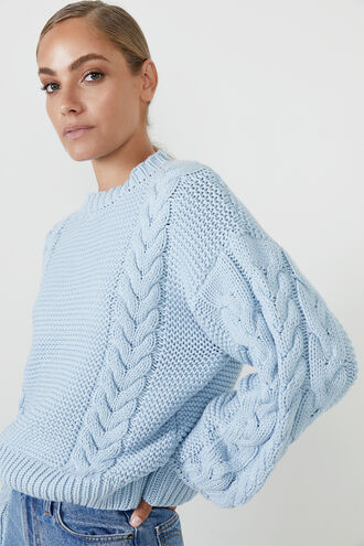 CHLOE CABLE KNIT  in colour CERULEAN