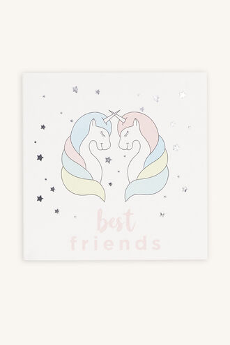 BEST FRIENDS UNICORN GIFT CARD in colour PINK CARNATION