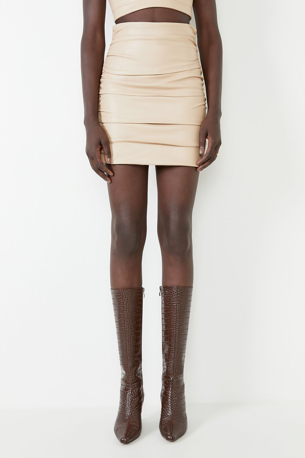 CARA VEGAN LEATHER SKIRT  in colour MOONLIGHT