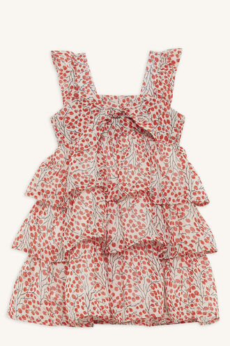 CHERRY BOW DRESS in colour TOMATO