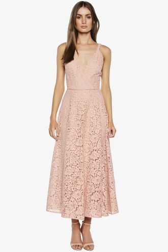 GENOVEVE LACE DRESS. in colour MELLOW ROSE