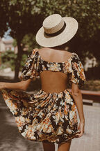 FLORAL MINI DRESS in colour JET BLACK