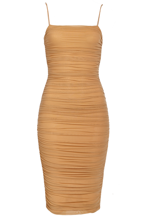 NAOMI DRESS in colour RUGBY TAN