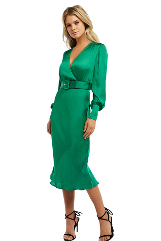SANDIEGO MIDI DRESS in colour CLASSIC GREEN