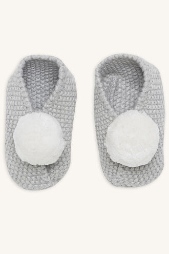 BABY POM POM SLIPPERS 3-6 MTHS in colour GRAY MIST