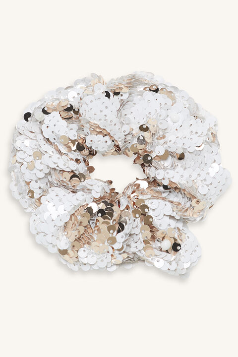 REVERSABLE SEQUIN SCRUNCHIE in colour PINK CARNATION