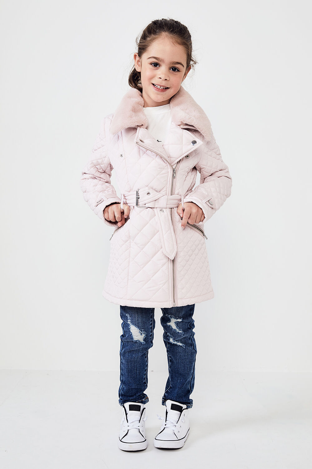 JUNIOR GIRL GRACE QUILTED COAT   in colour PRIMROSE PINK