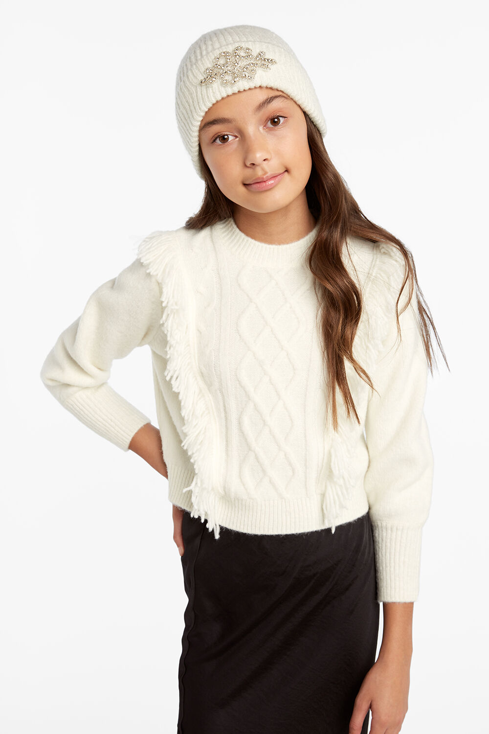 NELL CABLE KNIT in colour CLOUD DANCER