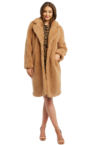 LONG COAT in colour ALMOND