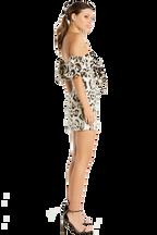 LEOPARD BROCADE DRESS in colour MARSHMALLOW