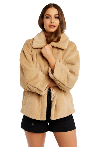 PIA FUR BOMBER JACKET in colour EGRET