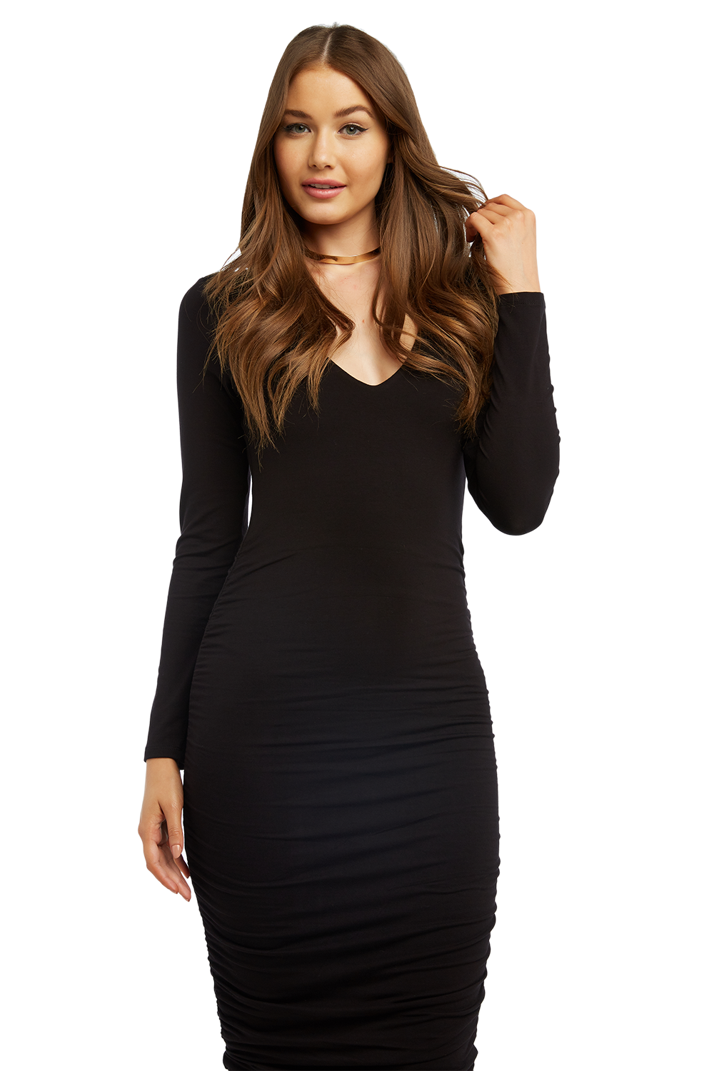 RACHEL ROUCHED DRESS in colour CAVIAR