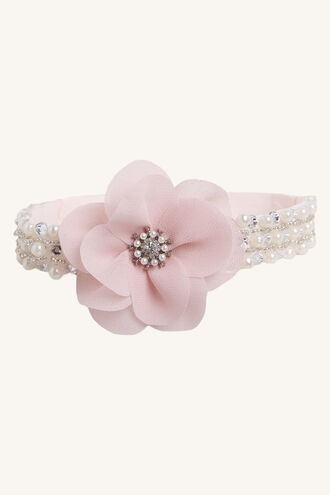 BABY DIAMANTE PEARL HEADBAND in colour VEILED ROSE