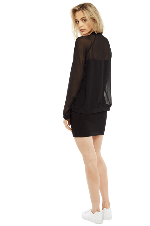 SHEER BOMBER JACKET in colour CAVIAR