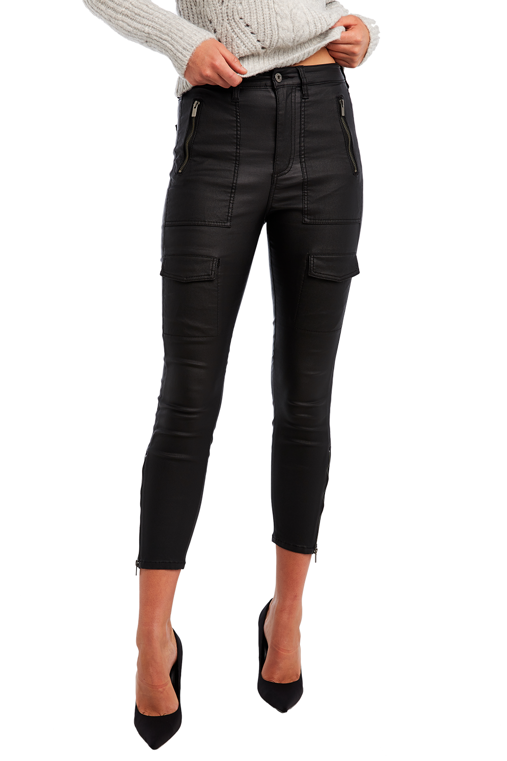 SIENNA COATED BIKER JEAN in colour CAVIAR