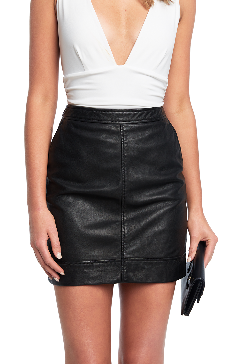 YUMA LEATHER SKIRT in colour CAVIAR