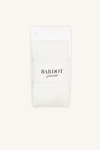 COTTON RIBBED TIGHTS in colour WHITE ALYSSUM