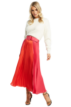 TWO TONE PLEAT SKIRT in colour BEETROOT PURPLE