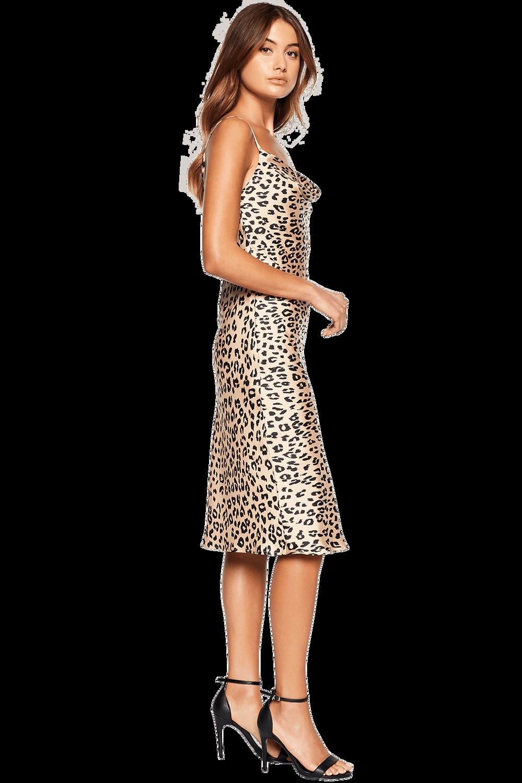 LEOPARD SLIP DRESS in colour JET BLACK