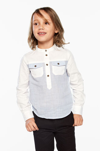 STAND COLLAR SHIRT in colour BLUE YONDER
