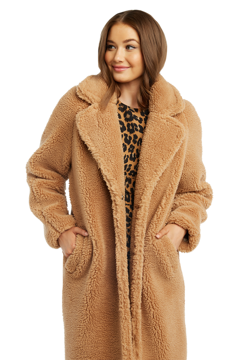 TEDDY LONG COAT in colour ALMOND