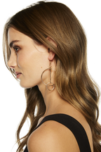 DOUBLE CIRCLE DROP HOOPS in colour GOLD EARTH