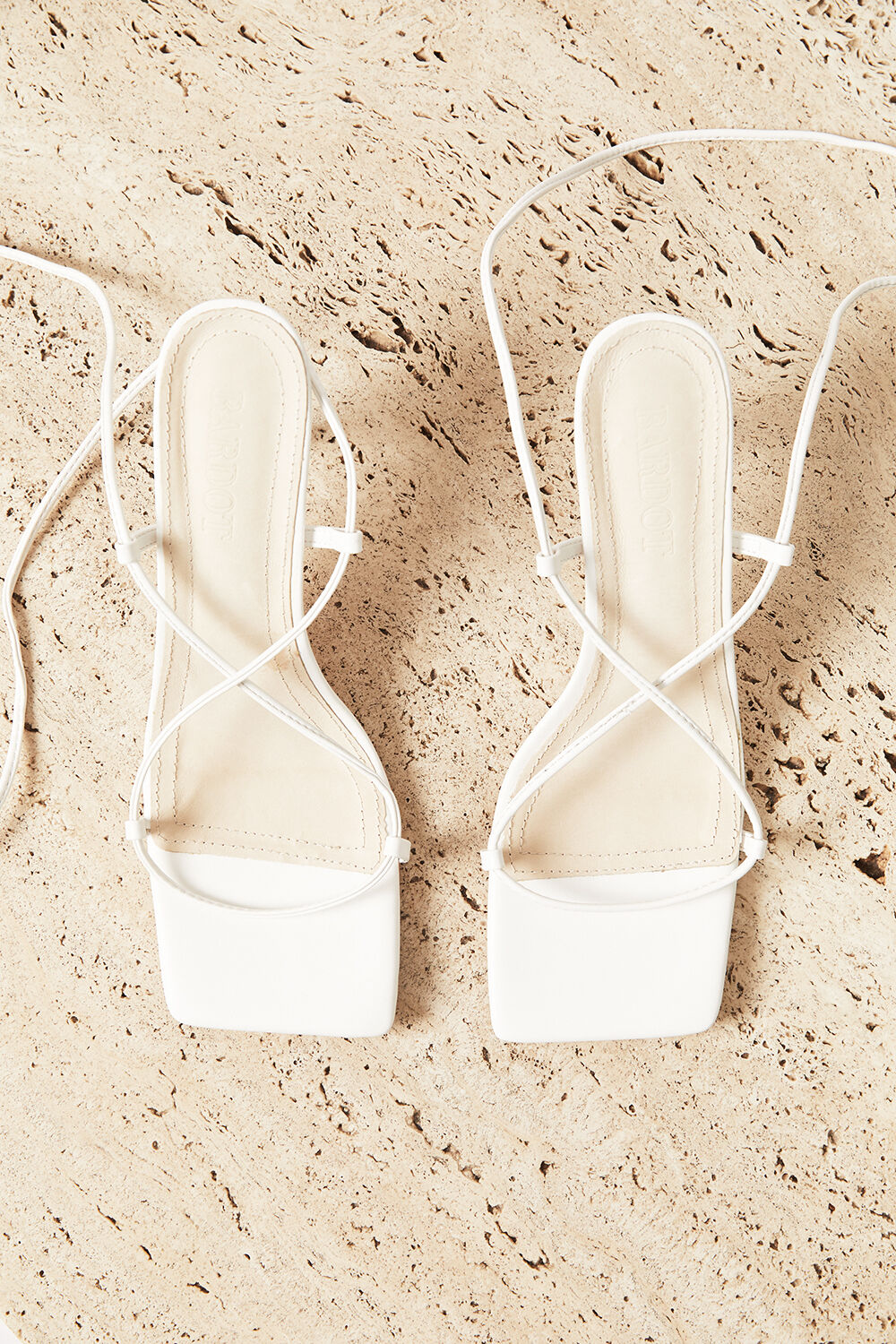 WHITE STRAPPY HEEL in colour CLOUD DANCER