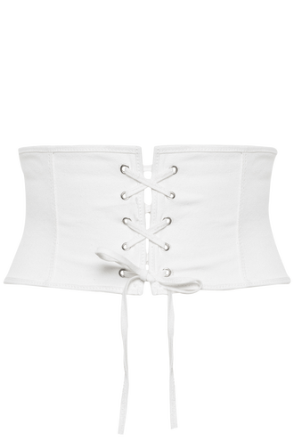 CORSETRY LACE UP BELT in colour WHITE ALYSSUM