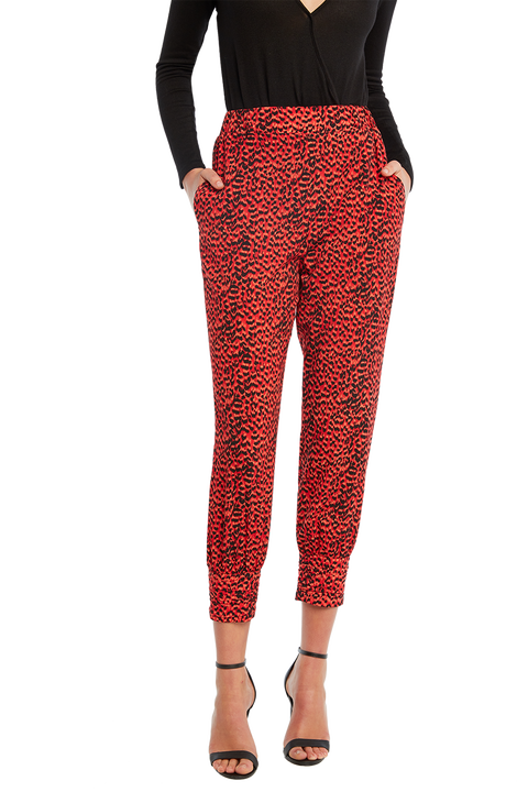 NORA LEOPARD PANT in colour TOMATO