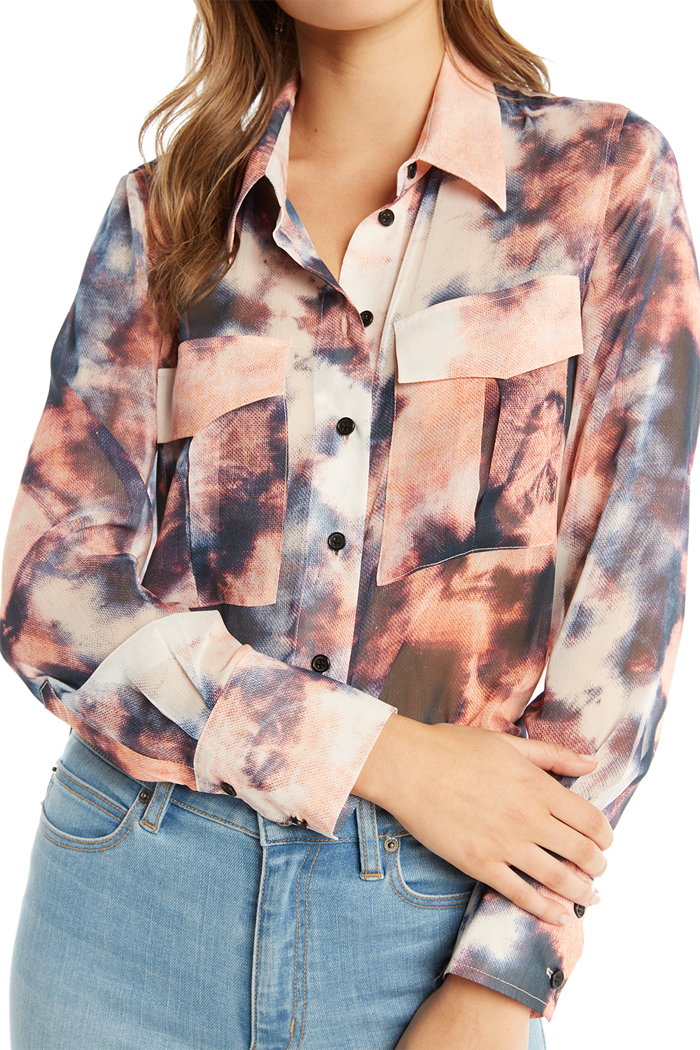 TIE DYE BLOUSE in colour PEACH MELBA