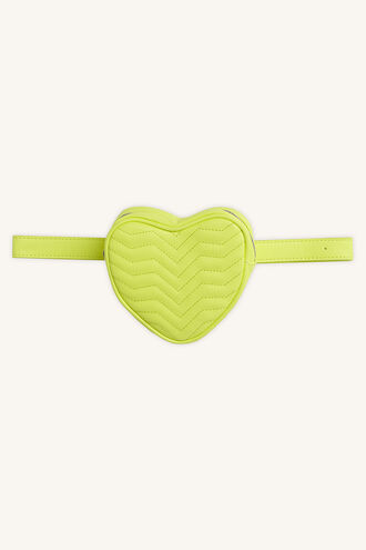 QUILTED HEART BELT in colour YELLOW CREAM