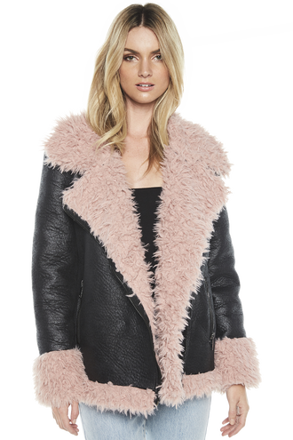 PACO FUR JACKET in colour CAVIAR