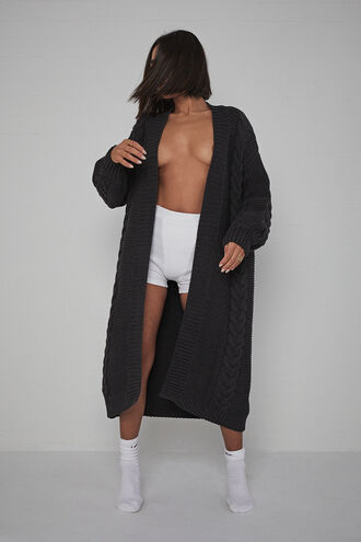 CHUNKY LONG CARDI in colour JET BLACK