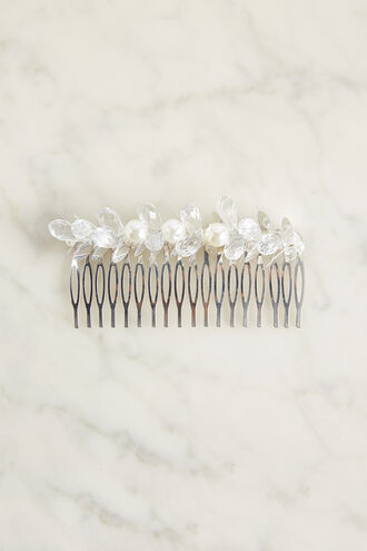 BEADED COMB in colour BRIGHT WHITE
