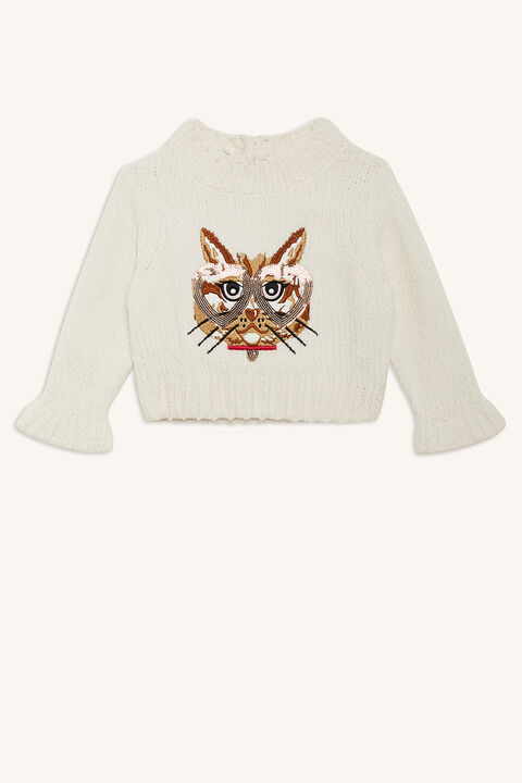 CAT EYES KNIT JUMPER in colour WHISPER WHITE