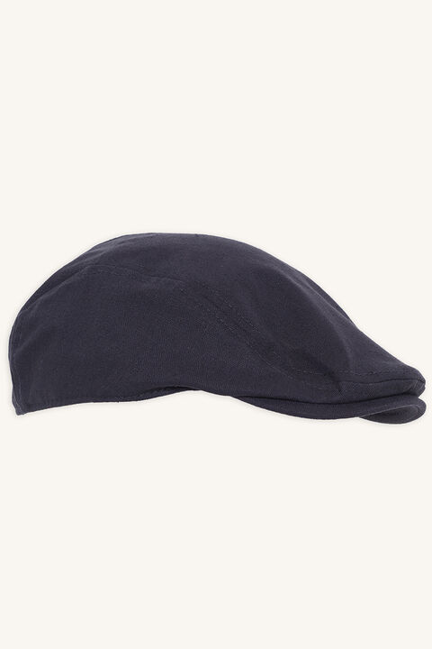 LINEN PAPERBOY CAP in colour BLACK IRIS
