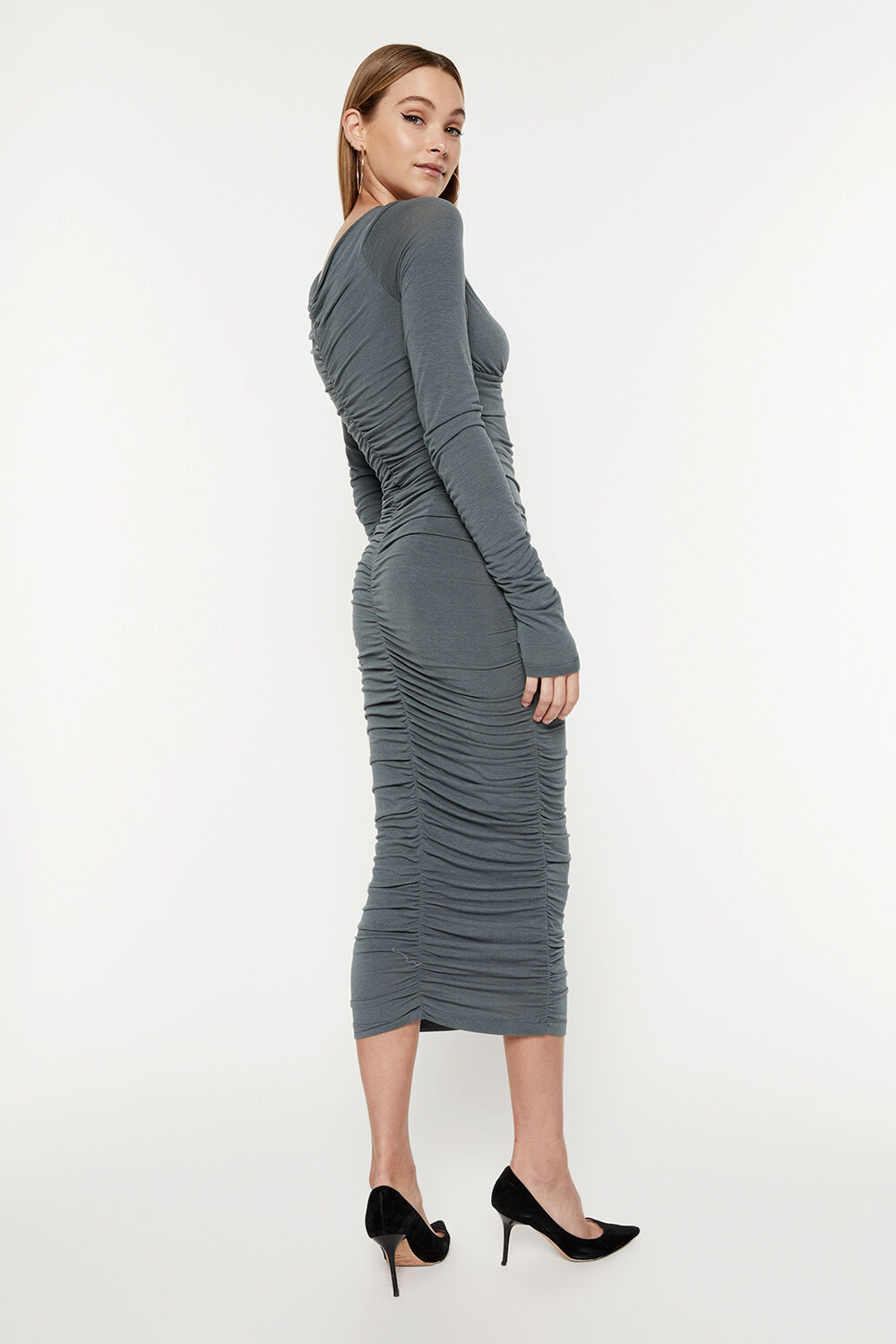 RUCHED DETAIL MIDI DRESS in colour IVY GREEN