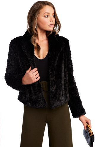 RABBIT FUR JACKET in colour CAVIAR